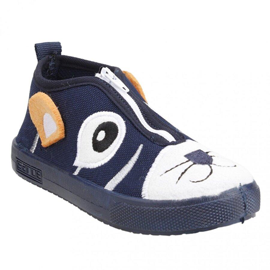 SANBE 106P107 Okul Kreş Kız/Erkek Çocuk Keten Panduf Ayakkabı LACİVERT