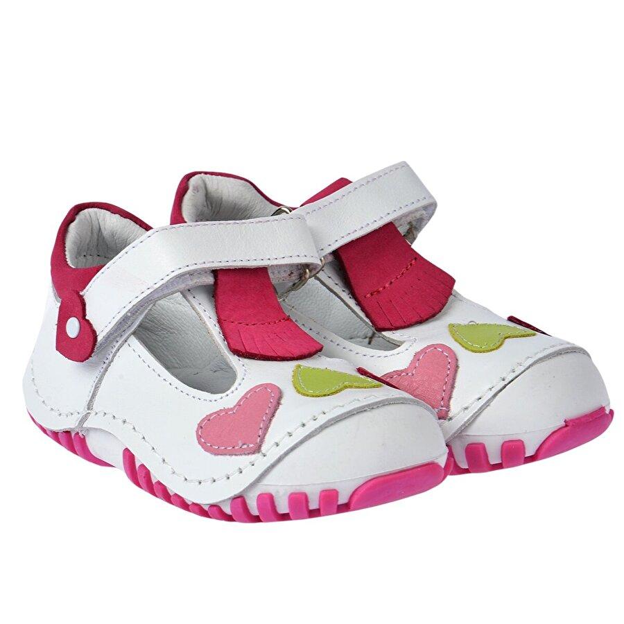 Kiko Kids Teo 105 %100 Deri Ortopedik Cırtlı Kız Çocuk Ayakkabı Beyaz Fuşya