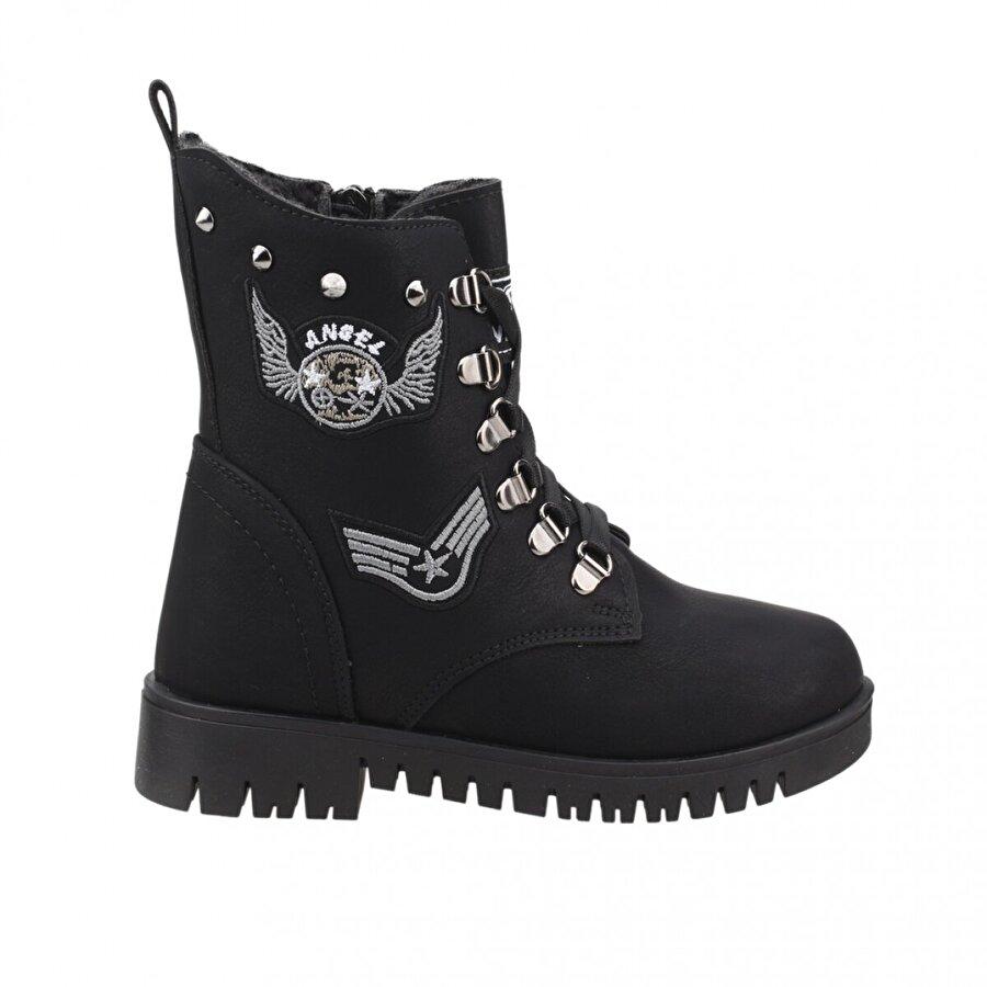 TWİNGO 630 Kışlık İçi Termal Kürklü Günlük Kız Çocuk Bot Ayakkabı SİYAH