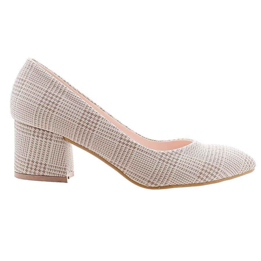 Ayakland 544-312 Ekose 5 Cm Topuk Bayan Topuklu Ayakkabı Krem