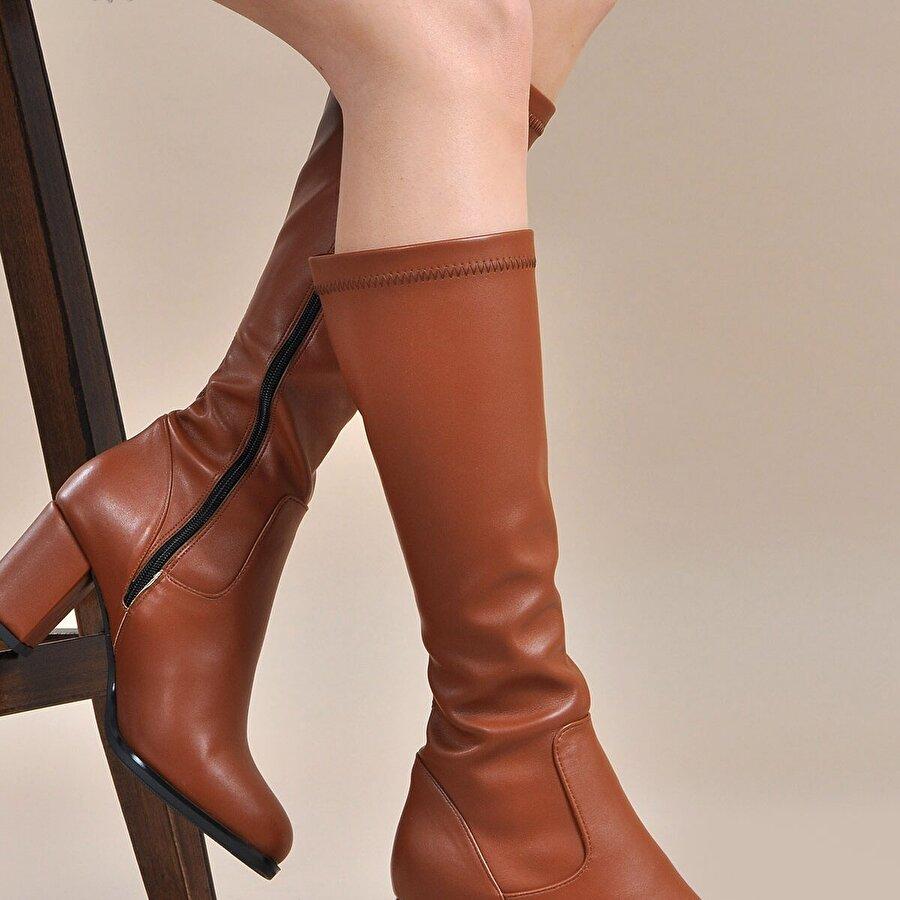 Vizon Ayakkabı Kadın  Taba Çizme VZN19-135K