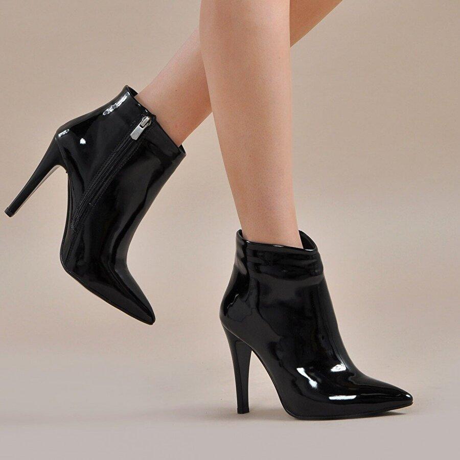 Vizon Ayakkabı Kadın  Siyah-Rugan Bot VZN19-144K