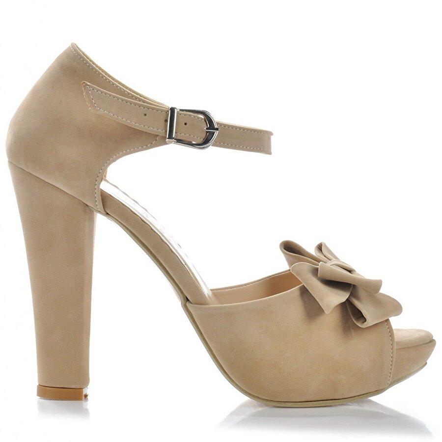 Vizon Ayakkabı Kadın  BEJ-SÜET Klasik Topuklu Ayakkabı VZN-272Y