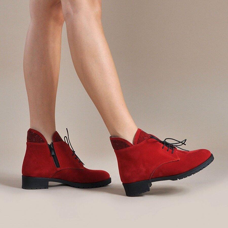 Vizon Ayakkabı Kadın  Kırmızı-Süet Bot VZN19-043K
