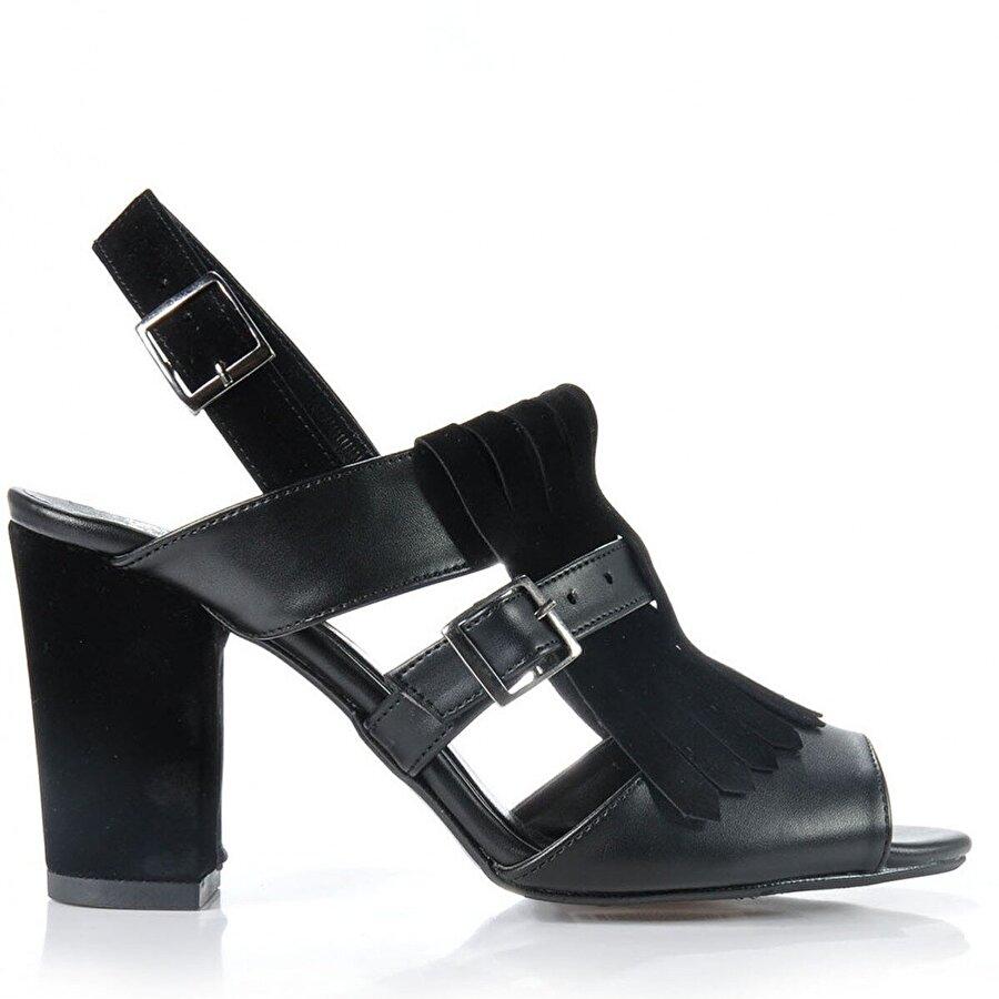 Vizon Ayakkabı Kadın  Siyah Klasik Topuklu Ayakkabı VZN-159Y