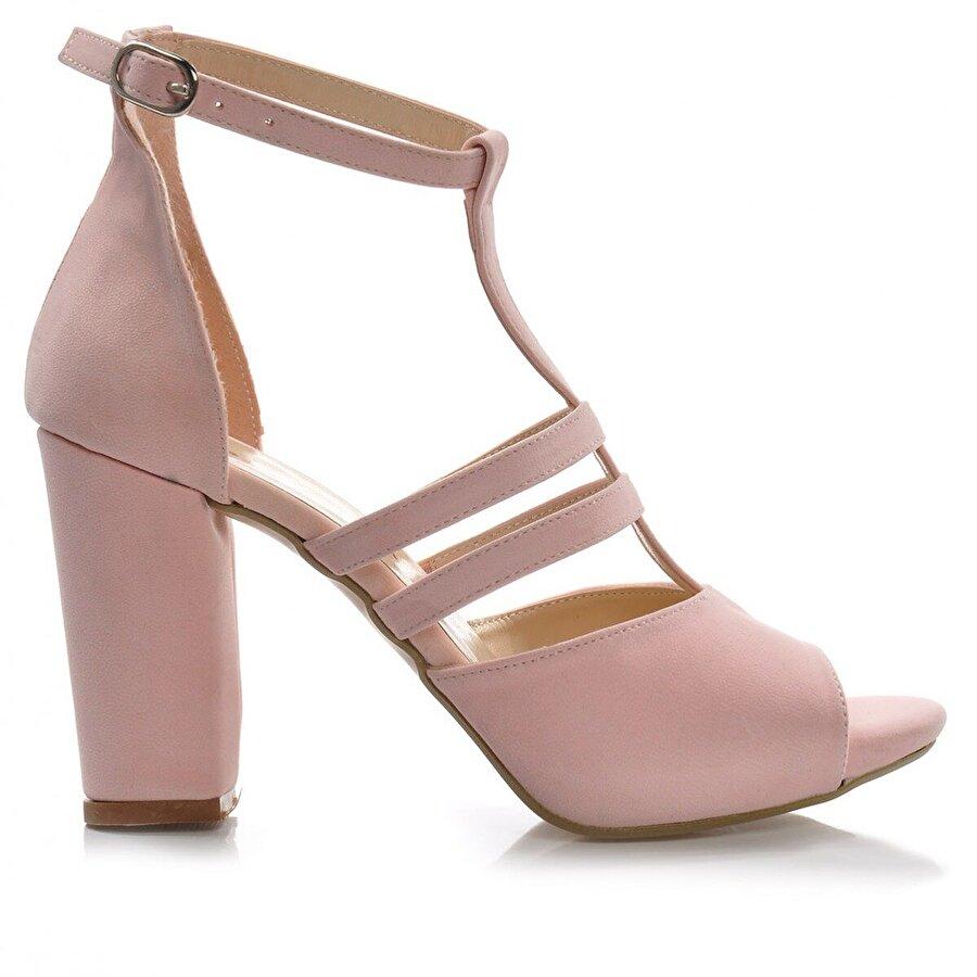 Vizon Ayakkabı Kadın  Pudra-Süet Klasik Topuklu Ayakkabı VZN-291Y