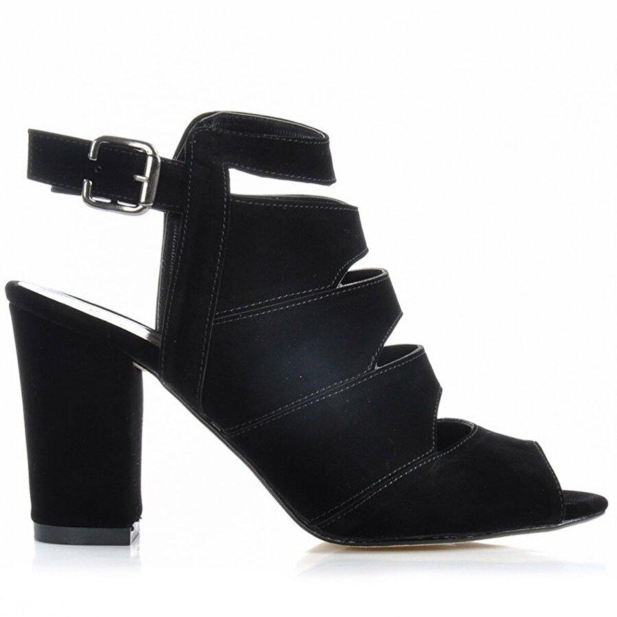 Vizon Ayakkabı Kadın  Siyah-Süet Klasik Topuklu Ayakkabı VZN-227Y