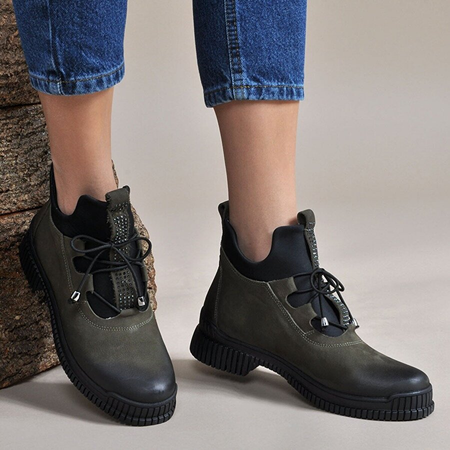 Vizon Ayakkabı Kadın  Haki Bot VZN19-018K