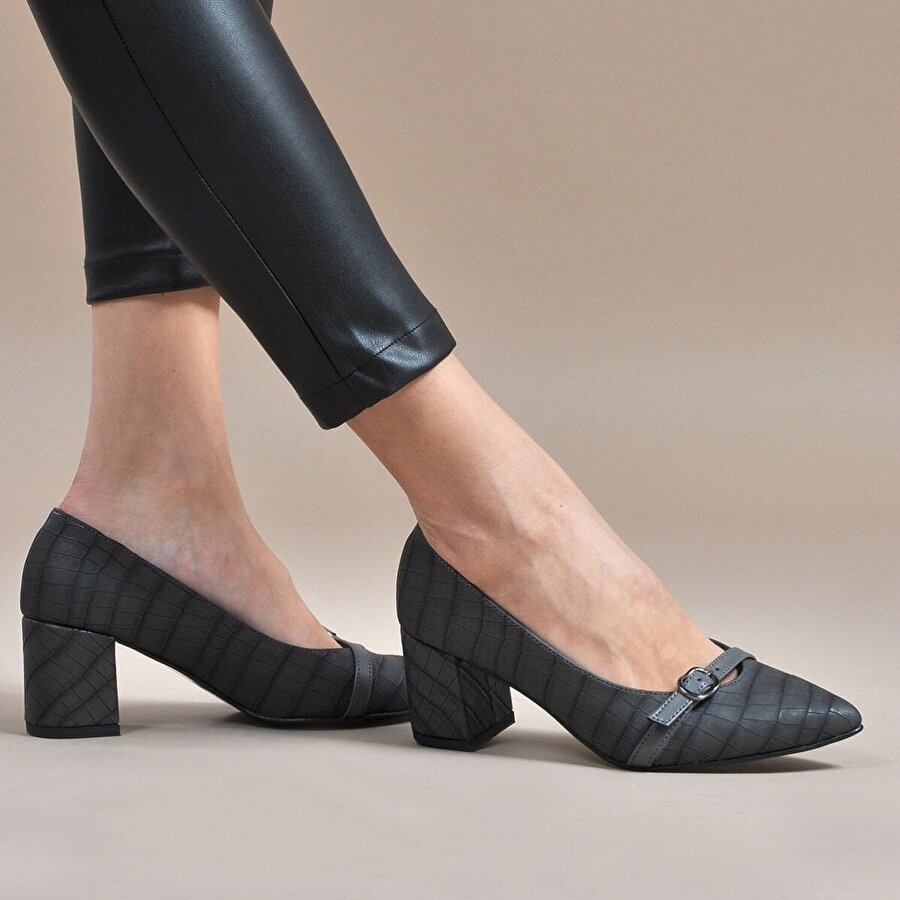Vizon Ayakkabı Kadın  Gri-Kroko Klasik Topuklu Ayakkabı VZN19-110K