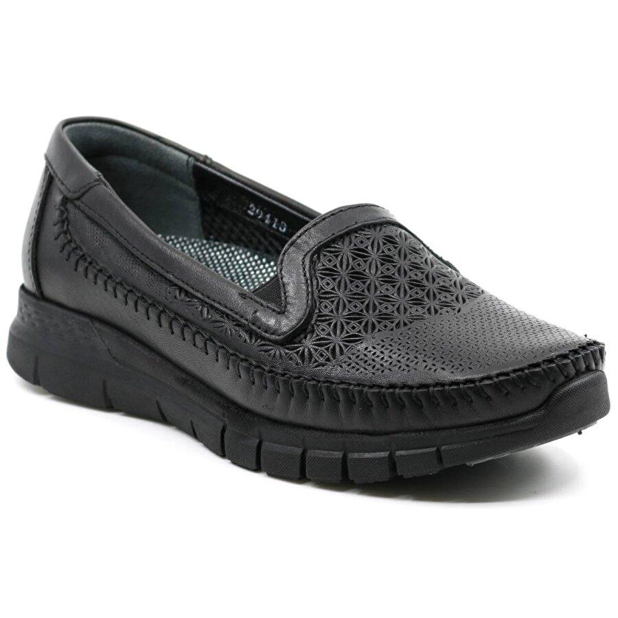 Forelli Ortopedik Rahat Hakiki Deri Kadın Ayakkabı 29413 Siyah