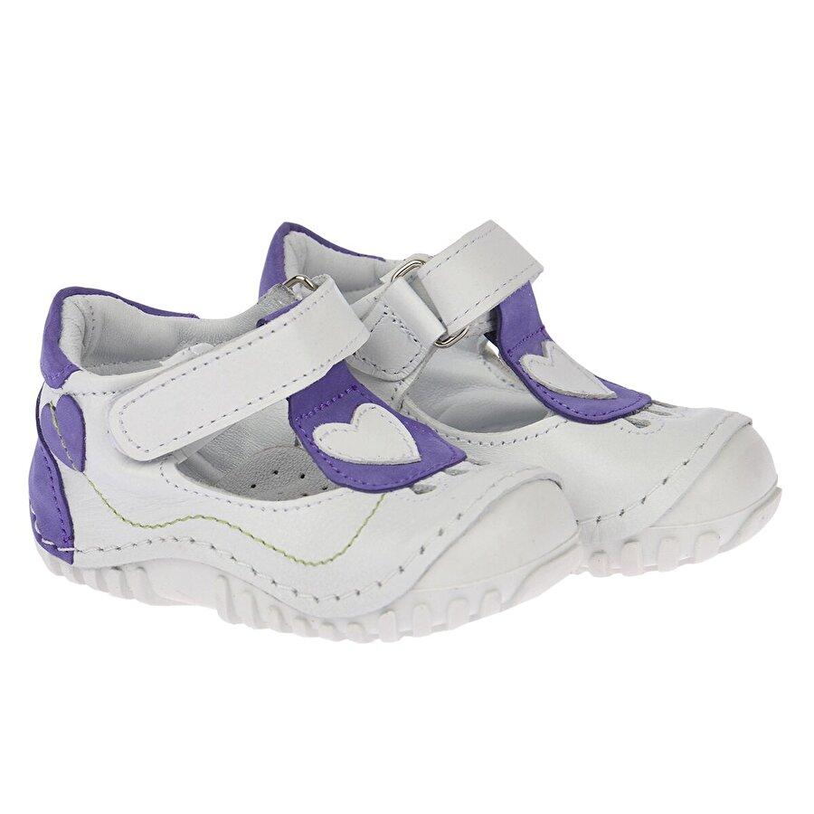 Kiko Kids Teo 103 %100 Deri Ortopedik Cırtlı Kız Çocuk Ayakkabı Beyaz Mor