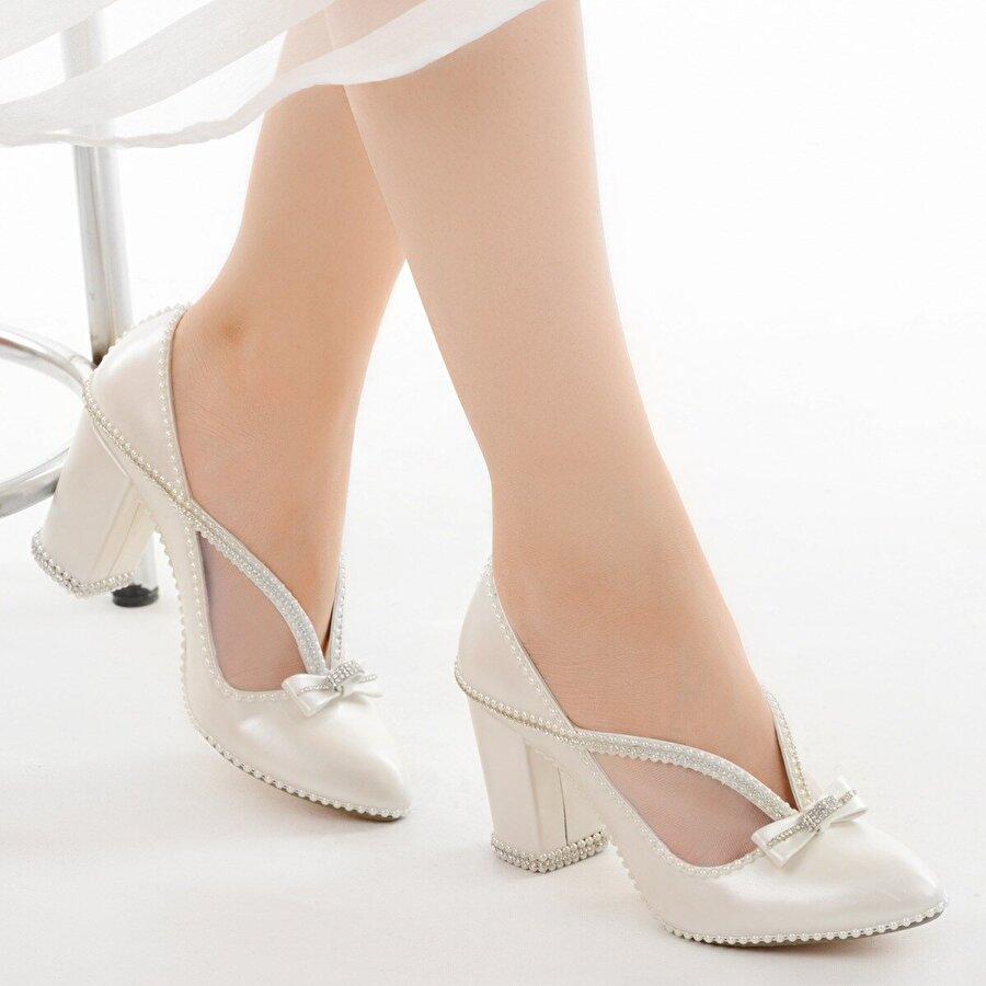 Ayakland Cmr G-05 7 Cm Topuk Abiye Taşlı Bayan Gelin Ayakkabı Sedef