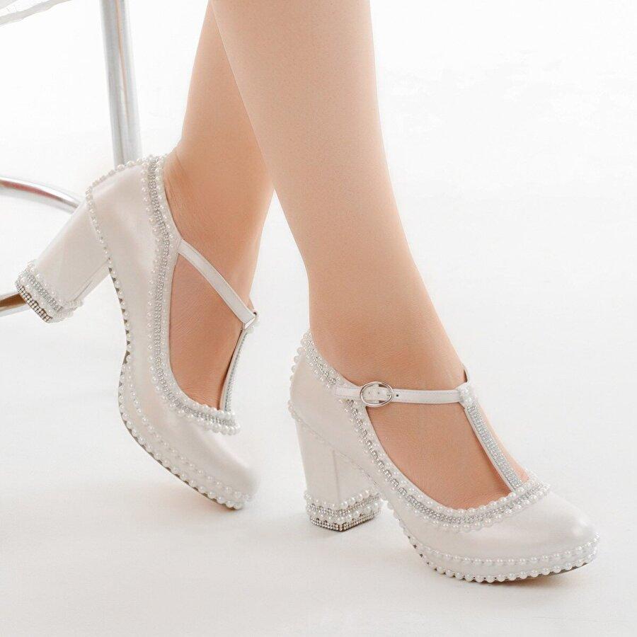 Ayakland Cmr G-06 Abiye 7 Cm Topuk Taşlı Bayan Gelin Ayakkabı Sedef