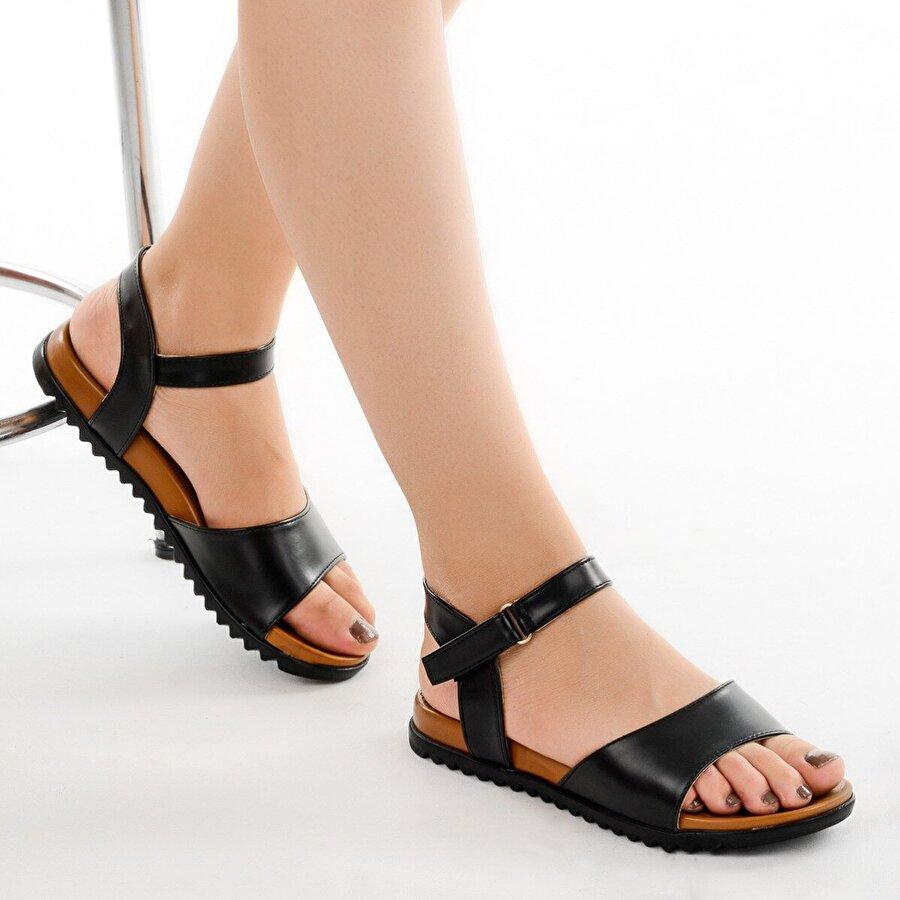 Ayakland 260-06 Cilt Günlük Bayan Sandalet Ayakkabı SİYAH