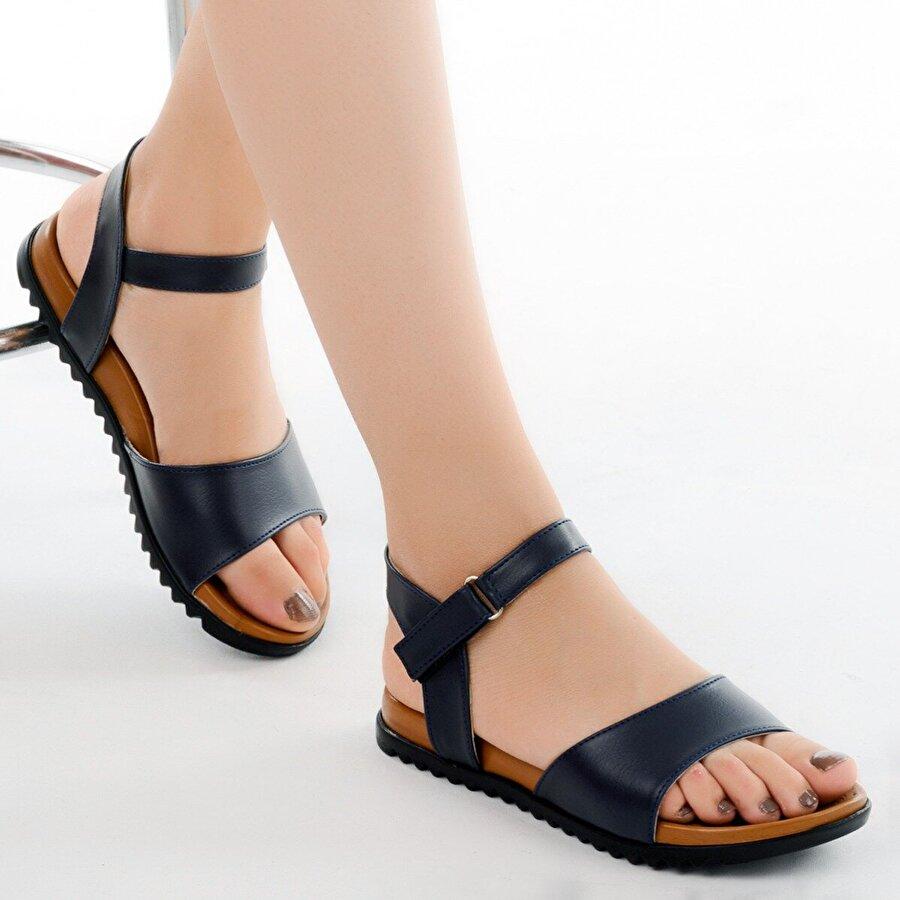 AYAKLAND 260-06 Cilt Günlük Bayan Sandalet Ayakkabı LACİVERT