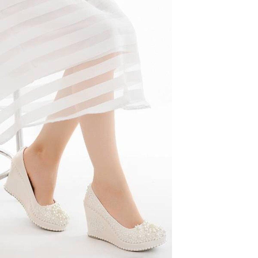 AYAKLAND Cmr G-14 Abiye 9 Cm Dolgu Topuk Bayan Gelin Ayakkabı Sedef