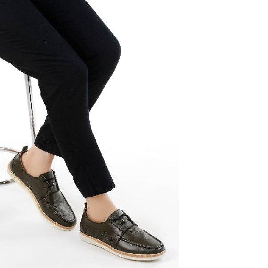 Ayakland 017 Deri Günlük Erkek Jel Topuk Ayakkabı YEŞİL