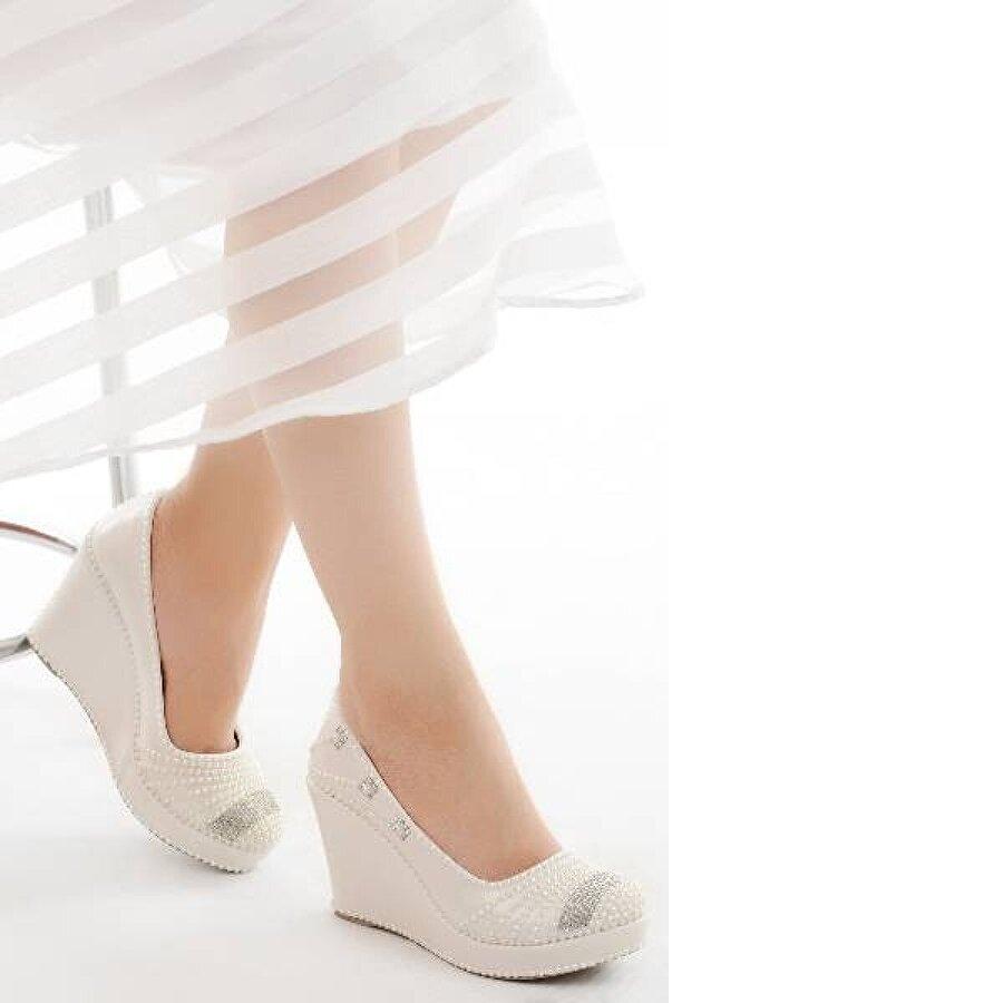 AYAKLAND Cmr G-09 Abiye 9 Cm Dolgu Topuk Bayan Gelin Ayakkabı Sedef