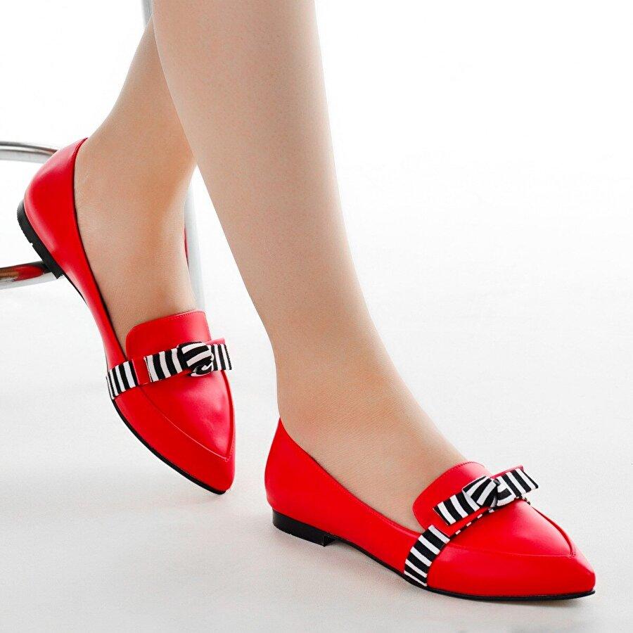 AYAKLAND Elf 340 Bayan Babet Ayakkabı KIRMIZI
