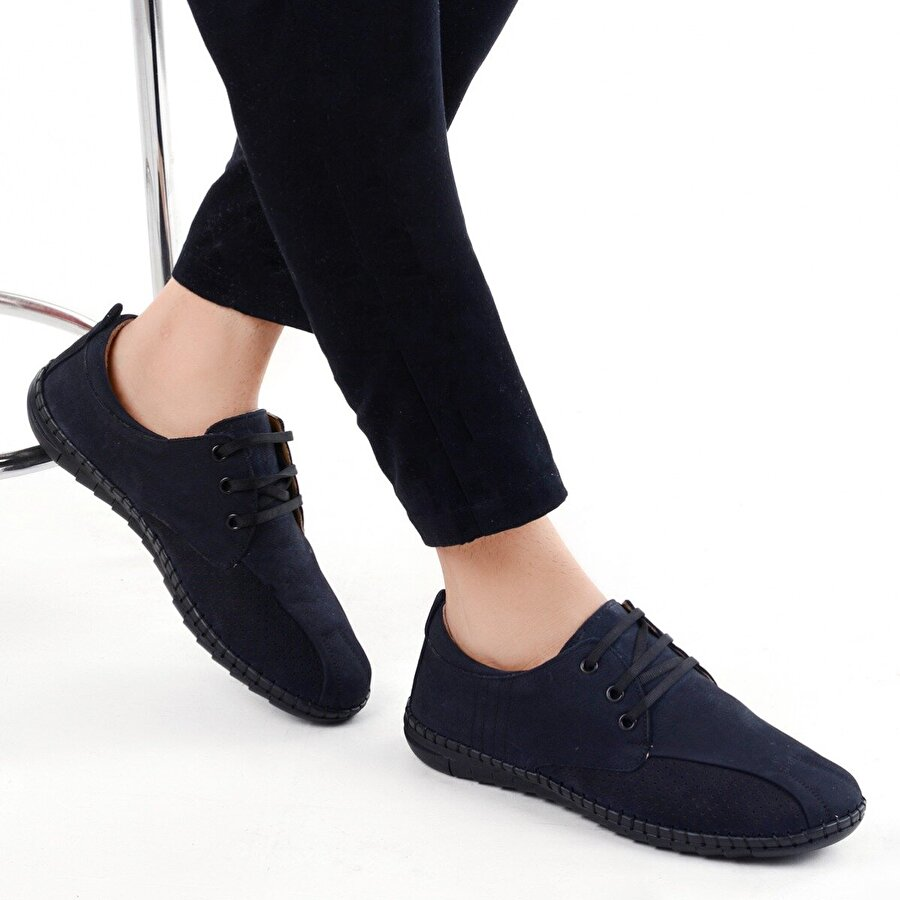 Ayakland 021-1 Nubuk Deri Günlük Erkek Jel Topuk Ayakkabı LACİVERT