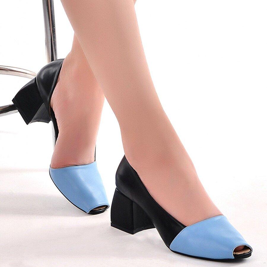 AYAKLAND 1139 Cilt 5 Cm Topuk Bayan Topuklu Sandalet Ayakkabı Mavi
