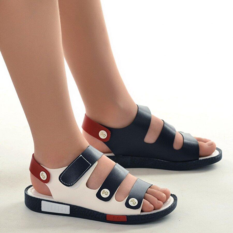 Şirin Bebe Kiko Şb 23502508-5816 Ortopedik Erkek Çocuk Sandalet Terlik Lacivert kırmızı beyaz