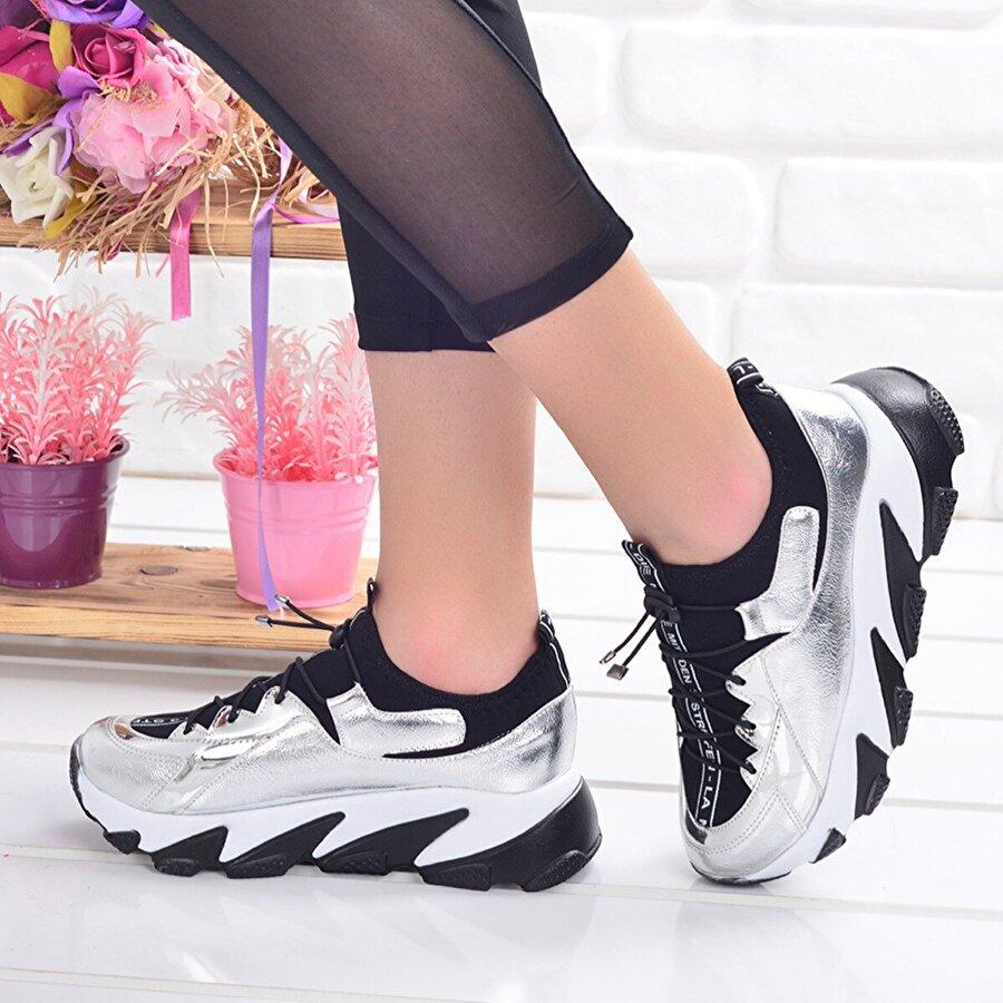 AYAKLAND Ljn 300 Günlük Bayan Spor Ayakkabı Gümüş