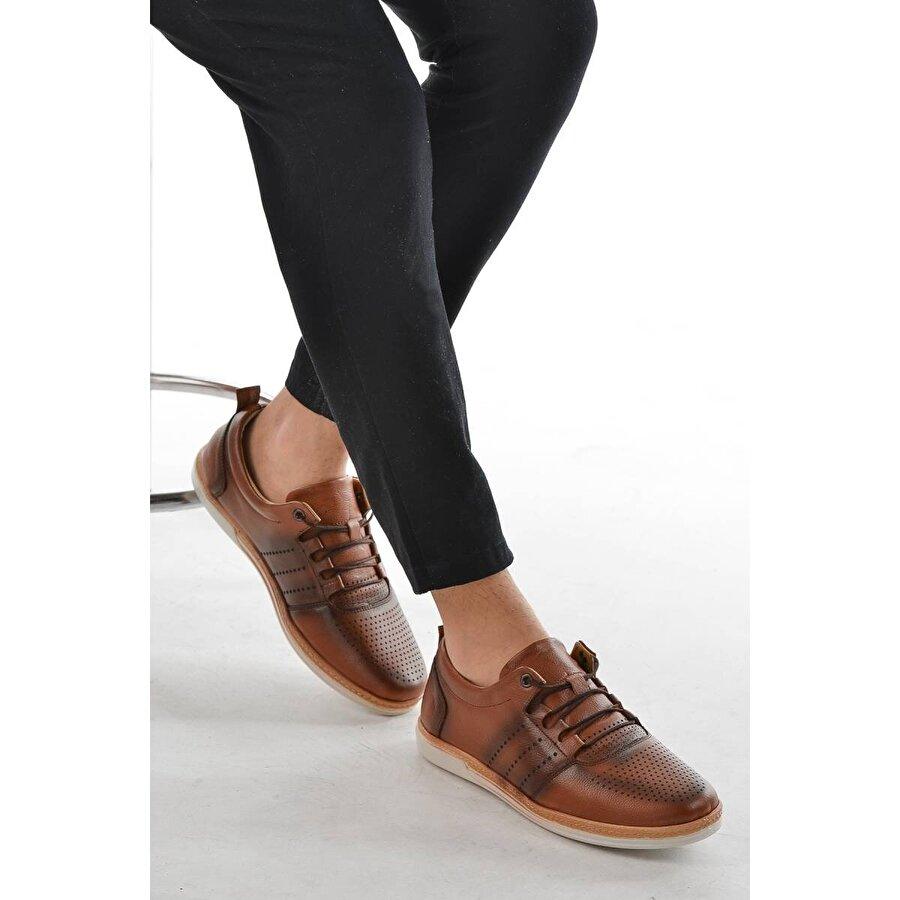 AYAKLAND 014 Deri Günlük Erkek Jel Topuk Ayakkabı TABA