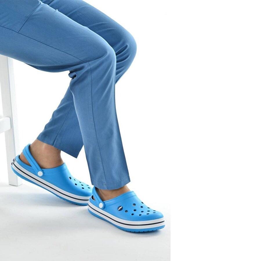 AYAKLAND Akn E195.M.000 Hastane Ortopedik Erkek Sandalet Terlik Turkuaz Beyaz Lacivert