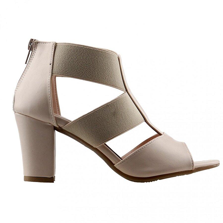 Ayakland 811-50 Cilt 7 Cm Topuk Bayan Sandalet Ayakkabı TEN