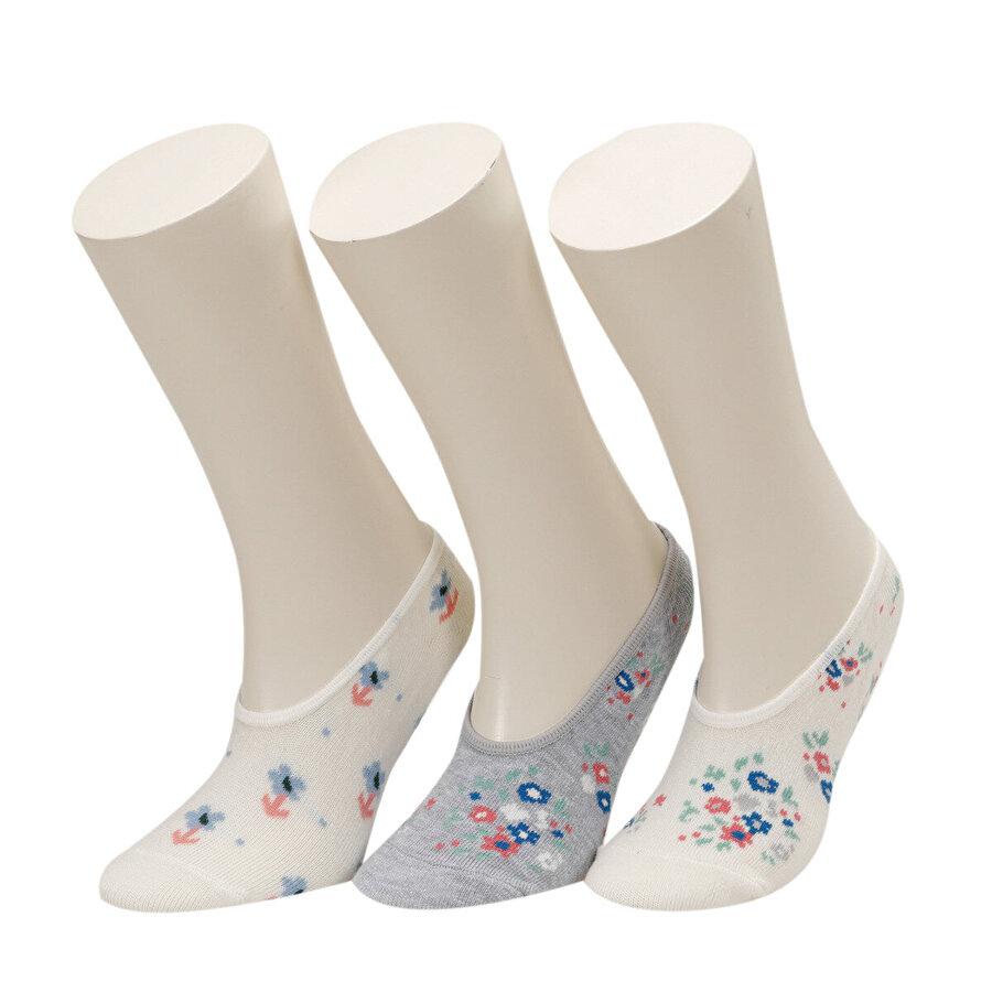 I Cool FLORAL 3 LU SUBA-G Mavi Kız Çocuk Çorap