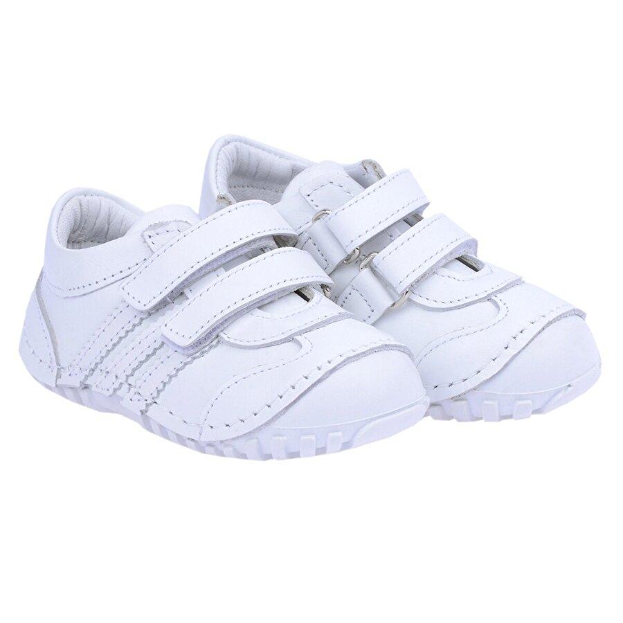 Kiko Kids Teo 138 %100 Deri Orto pedik Cırtlı Kız Çocuk  Sneaker Ayakkabı BEYAZ