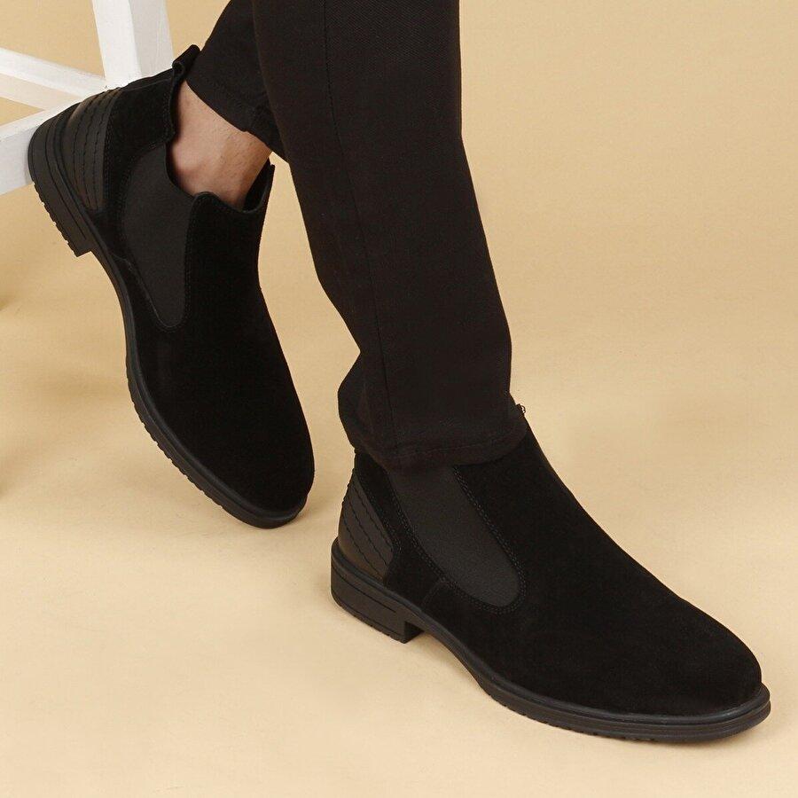 AYAKLAND Hrz 099 Nubuk Deri Kauçuk Taban Erkek Bot Ayakkabı SİYAH