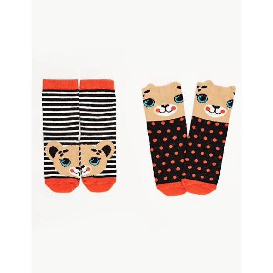 Denokids Leopar Kız Soket Çorap