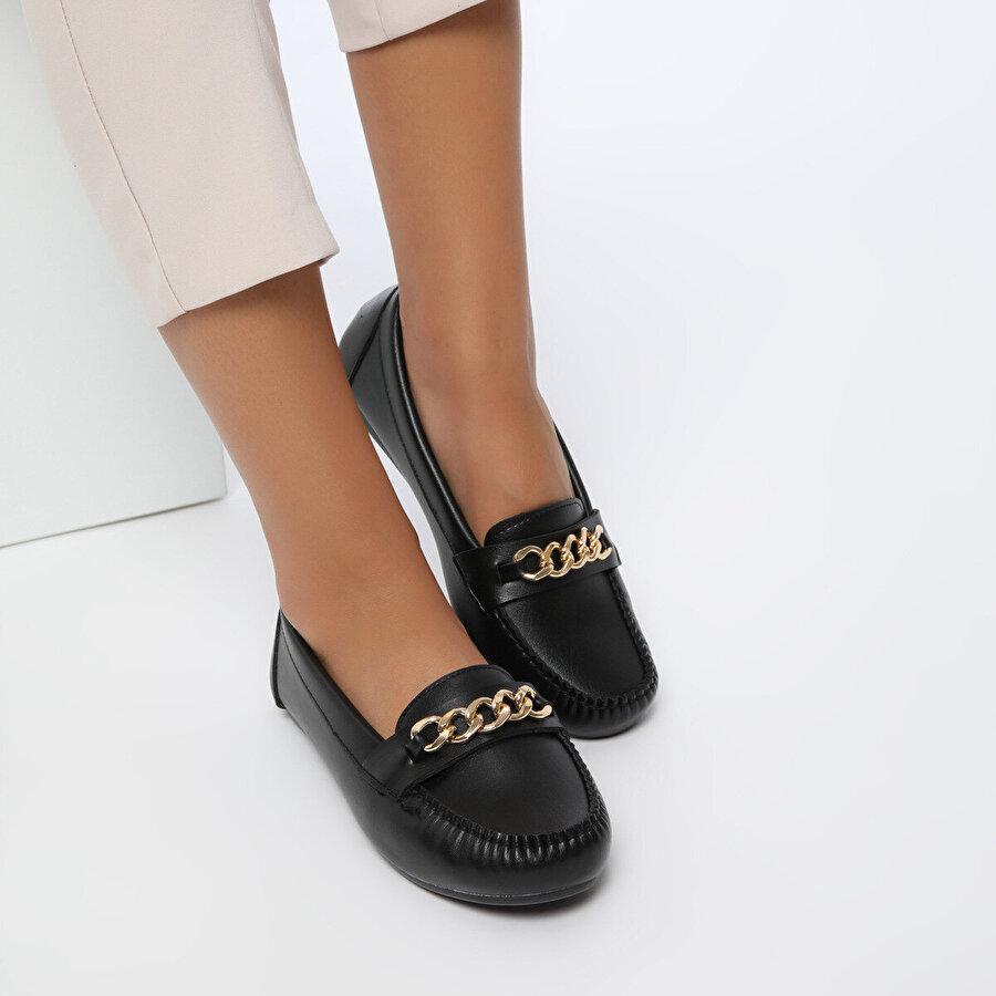 Miss F DS20052 Siyah Kadın Loafer Ayakkabı