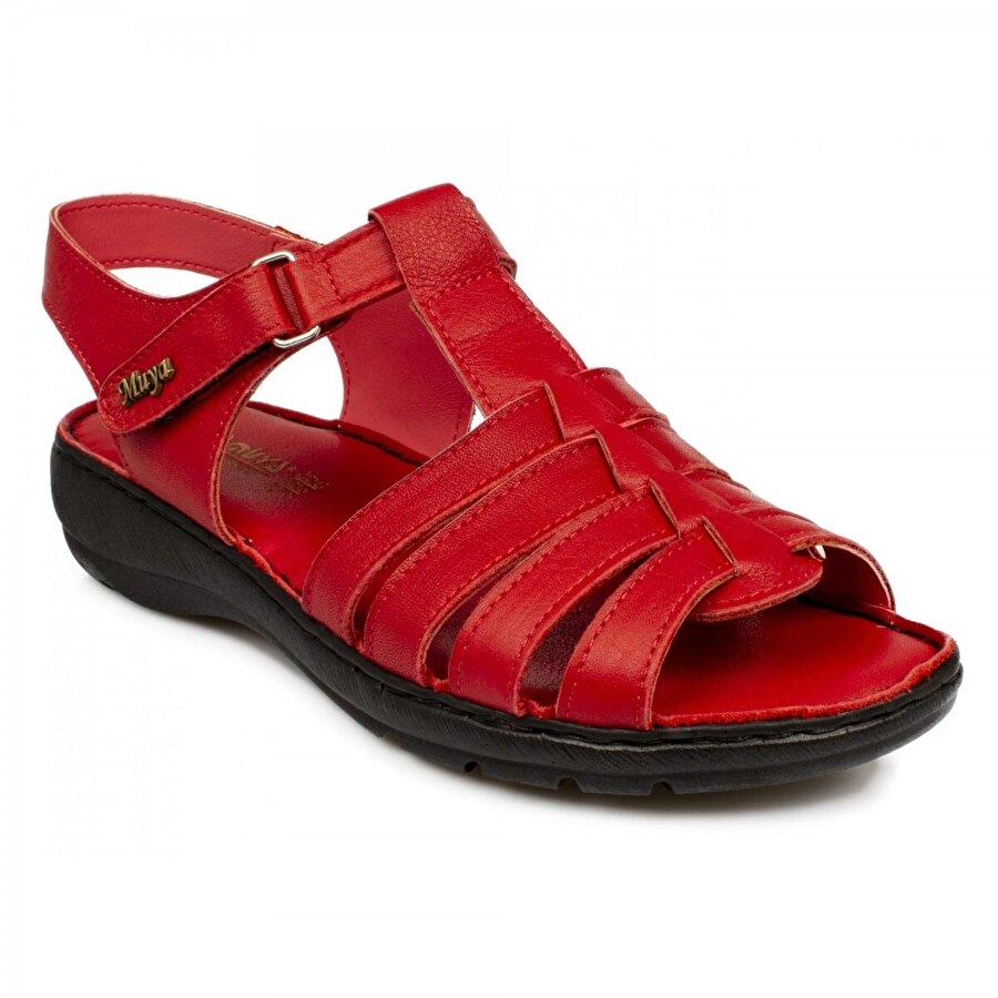 Muya 97162 Z Hakiki Deri Kırmızı Kadın Sandalet