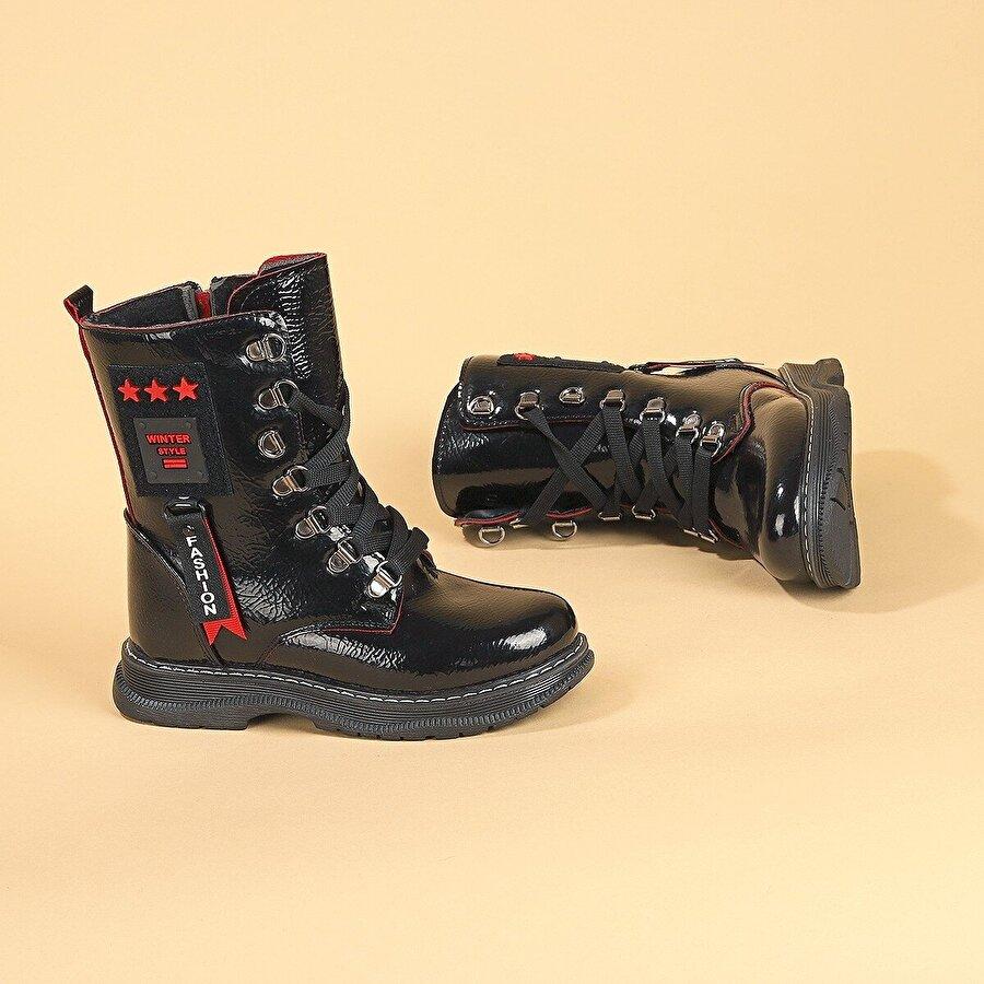 Kiko Kids Kiko TWG 7435 Rugan Kışlık İçi Termal Kürklü Kız Çocuk Bot Ayakkabı Siyah-Kırmızı