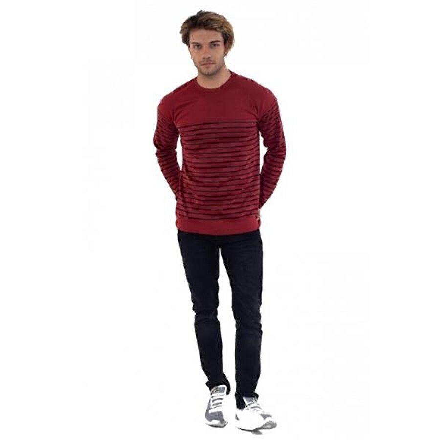 Louis Park Sıfır Yaka Parçalı Çizgili 3 İplik Sw.Shirt