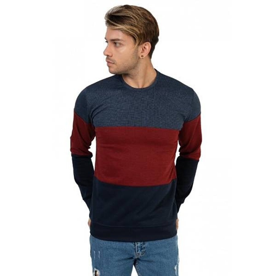 Louis Park Sıfır Yaka 3 Renk Bloklu Sw.Shirt
