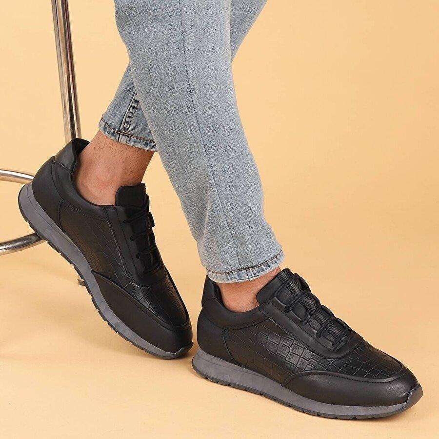 Ayakland 9300 Günlük Bağcıklı Erkek Spor Ayakkabı Siyah-Gri