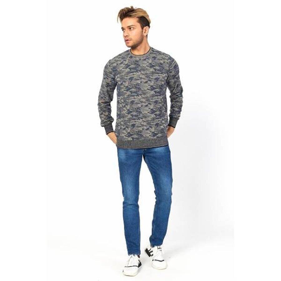 Twenty3 Erkek Sıfır Yaka Kamuflaj Basic Sweat Shirt Uzun Kol