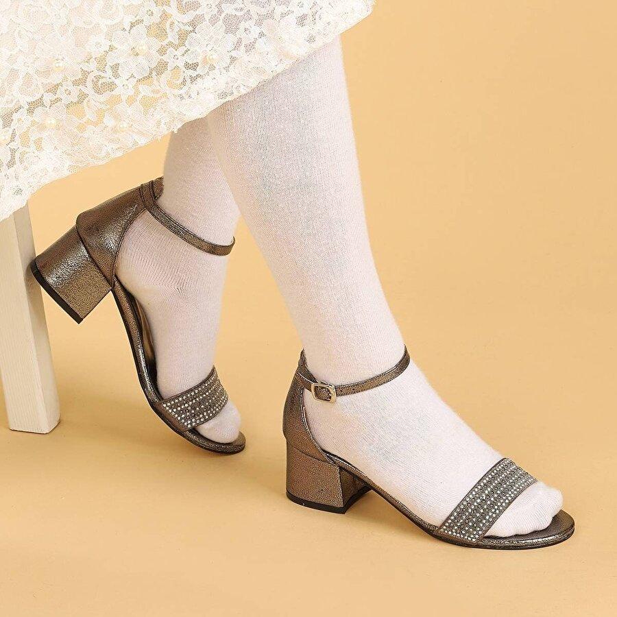 Kiko Kids Kiko 761 Çatlak Günlük Kız Çocuk 3 Cm Topuk Sandalet Ayakkabı PLATİN