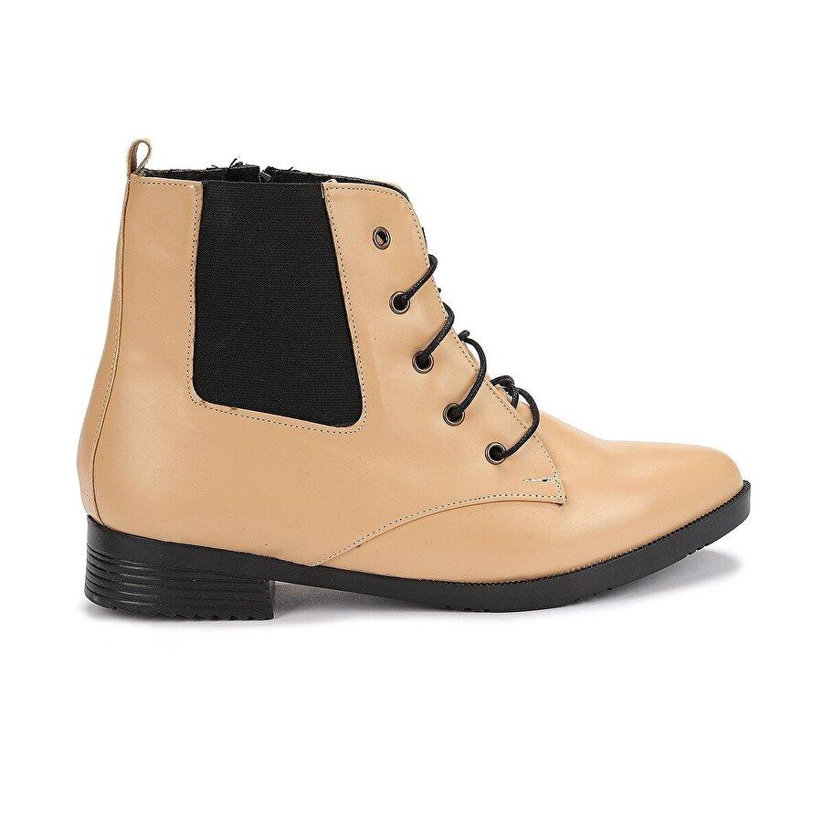 Ayakland 387-01 Cilt Bağcıklı Termo Taban Bayan Bot Ayakkabı BEJ