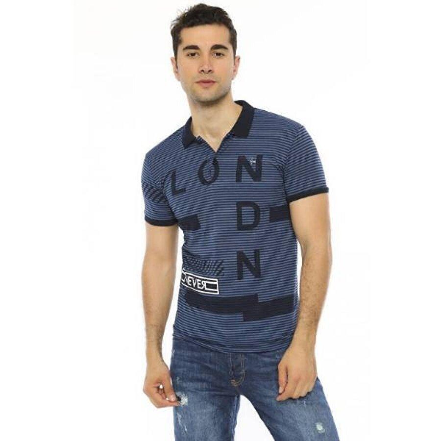 Louis Park Slim Fit Baskılı Polo Yaka Erkek T.Shirt