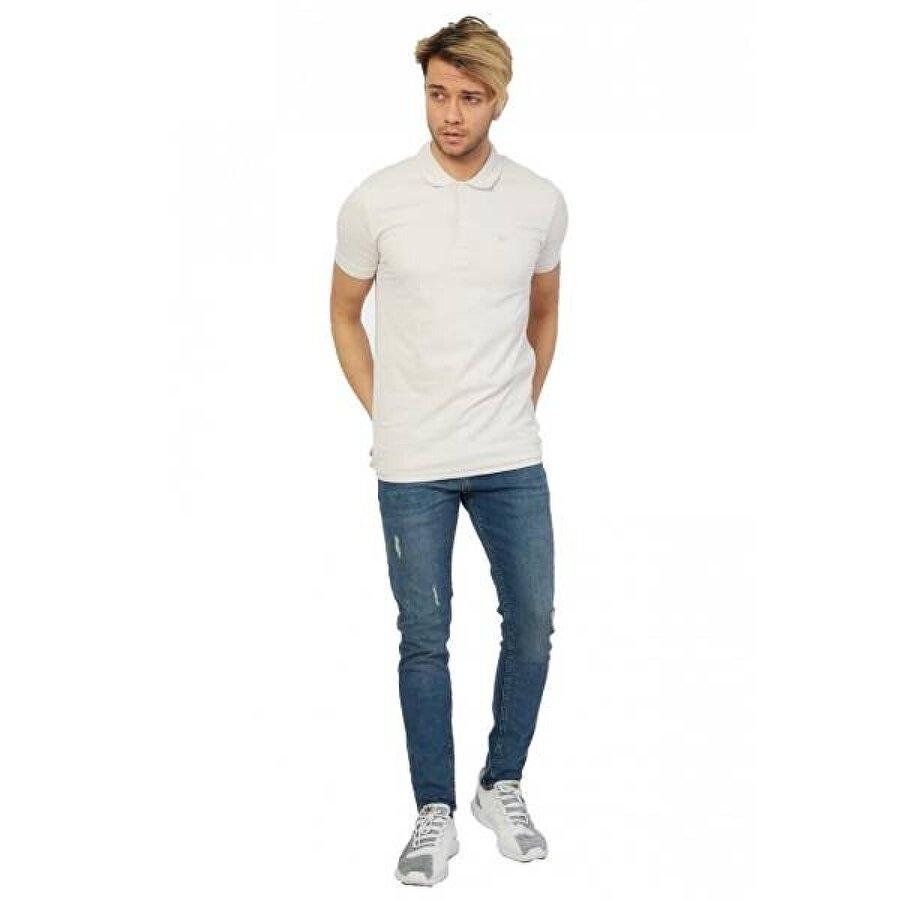 Louis Park Erkek Likralı Basic Polo Yaka Pike T-Shirt