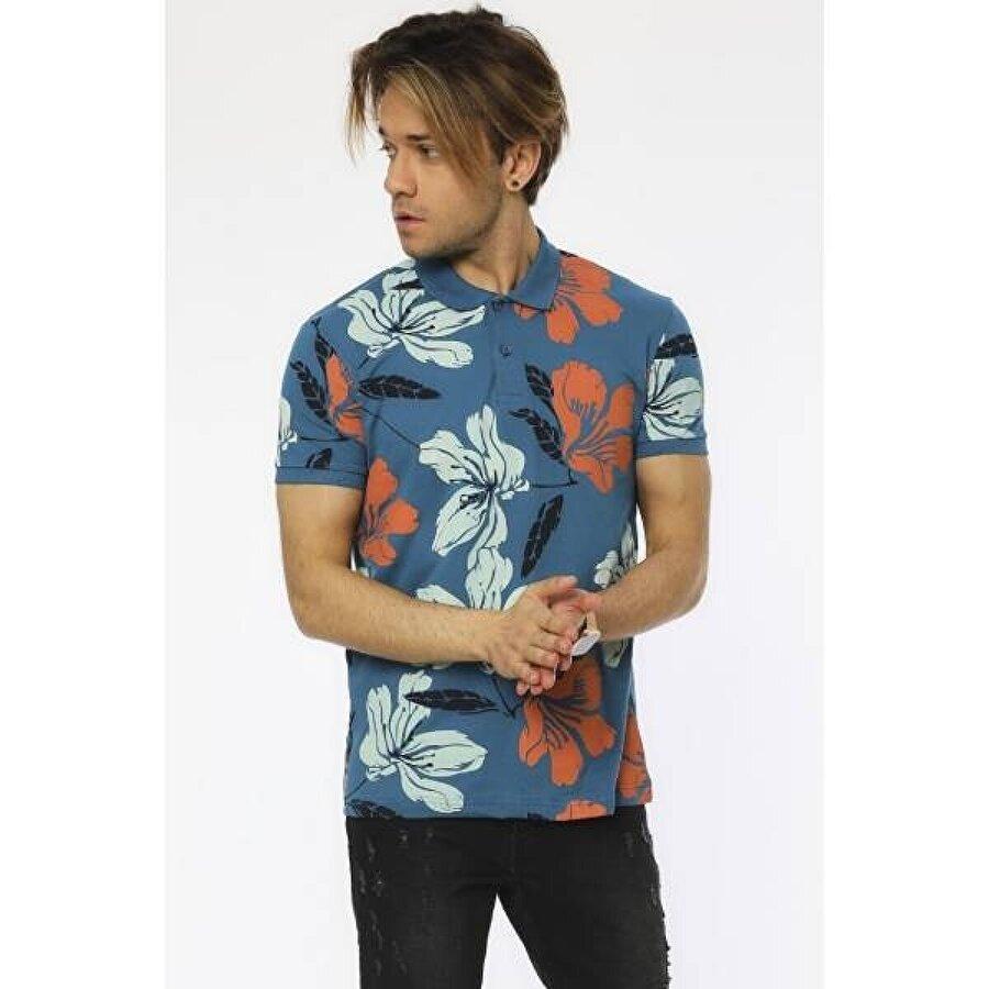 Louis Park Slim Fit Baskılı Pike Polo T.Shirt