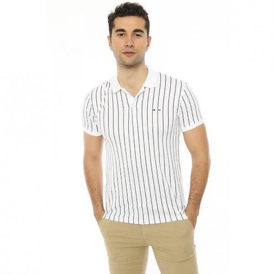 Louis Park Slim Fit Polo Yaka Çizgili Erkek T.Shirt