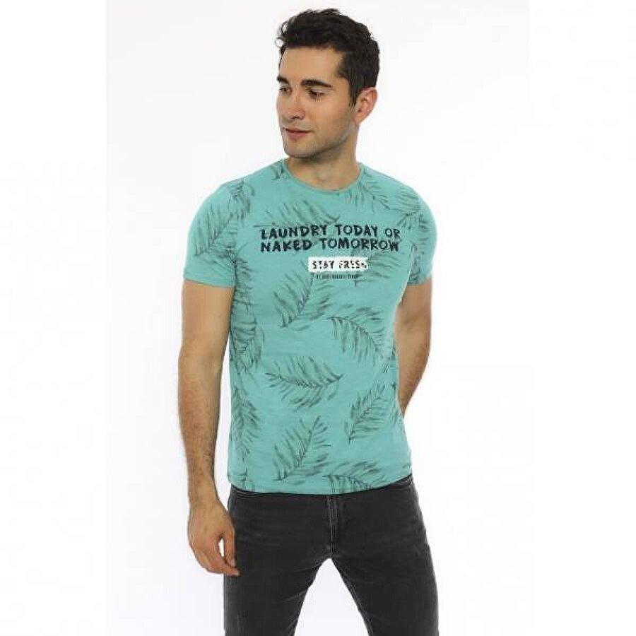 Louis Park Slim Fit Sıfır Yaka Baskılı Erkek T.Shirt