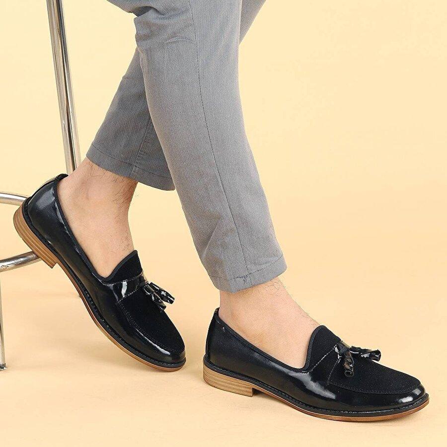 Ayakland 2000 Rugan Günlük Fiyonklu Erkek Klasik Ayakkabı SİYAH