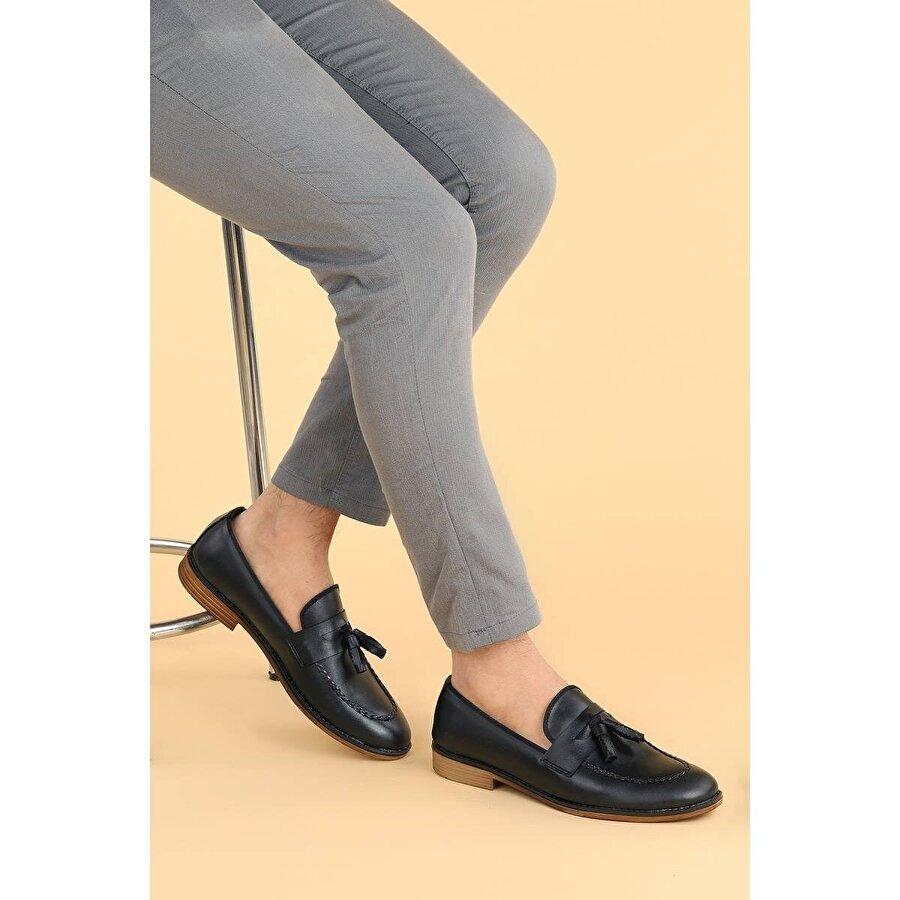 AYAKLAND 1300 Cilt Günlük Fiyonklu Erkek Klasik Ayakkabı SİYAH